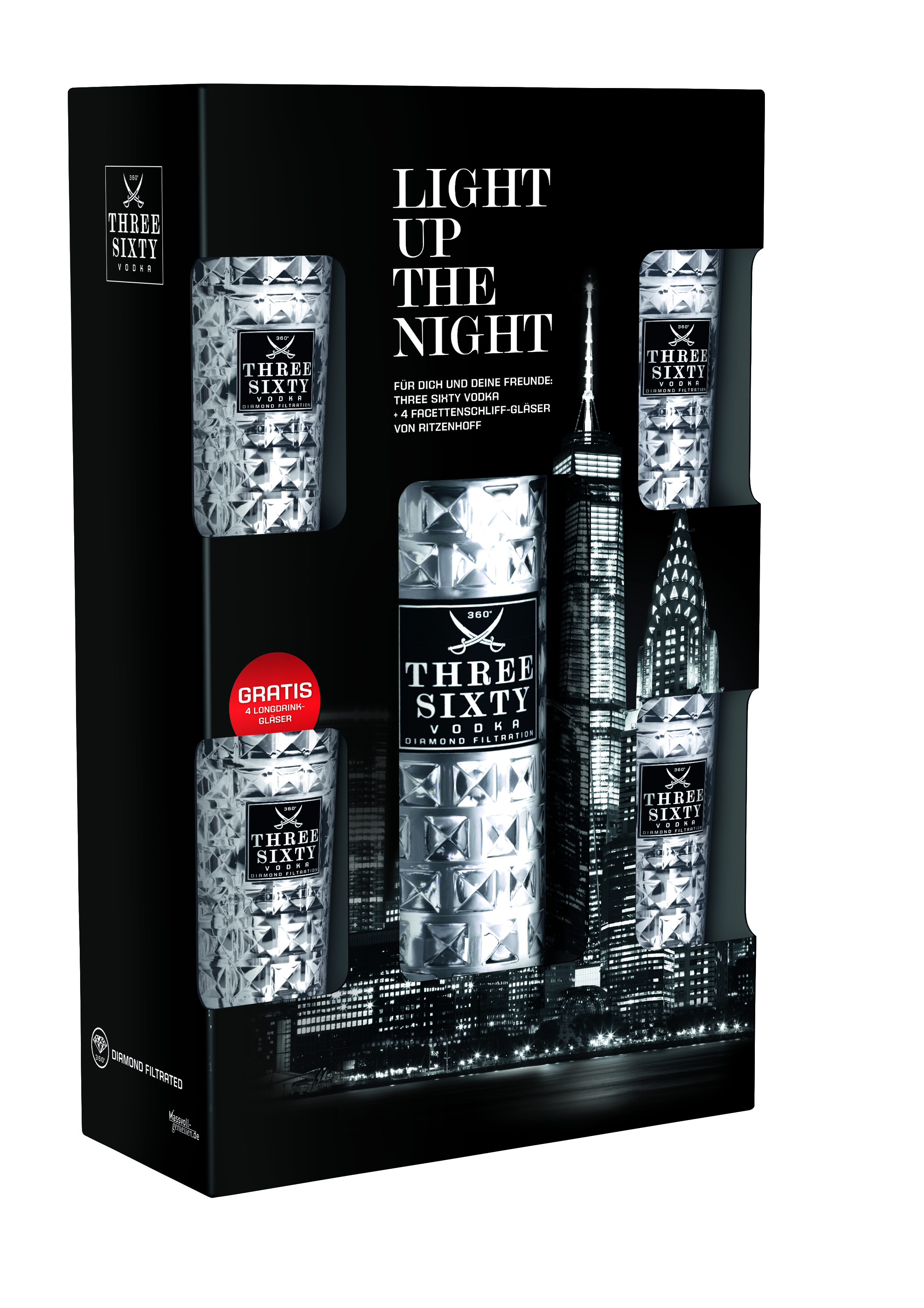 Three Sixty Vodka 3 l 37 vol Geschenk pack mit 4