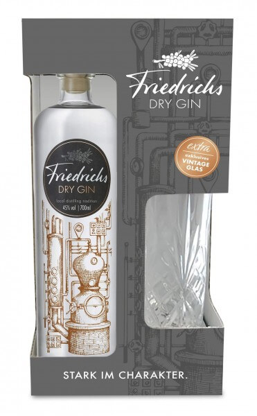 Friedrichs Dry Gin 0,7L 45% vol. OnPack mit Glas