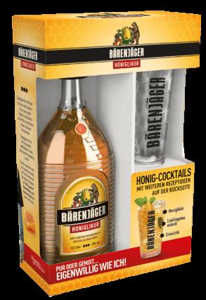 Bärenjäger 0,7L 35% vol. mit Cocktail-Glas