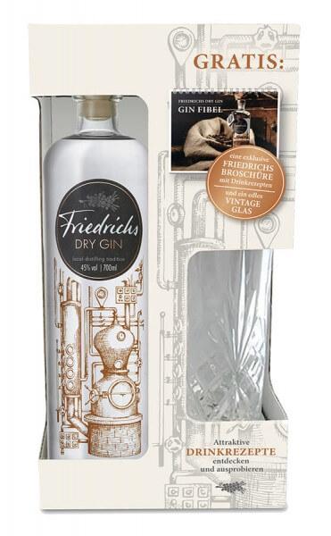 Friedrichs Dry Gin 0,7L 45% vol. OnPack mit Glas + Gin-Fibel
