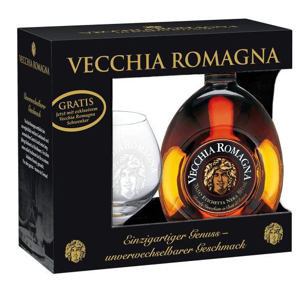Vecchia Romagna Etichetta Nera 0,7L mit gratis Glas