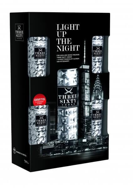 Three Sixty Vodka 3 l 37,5%vol. Geschenk-Onpack mit 4 Gläsern