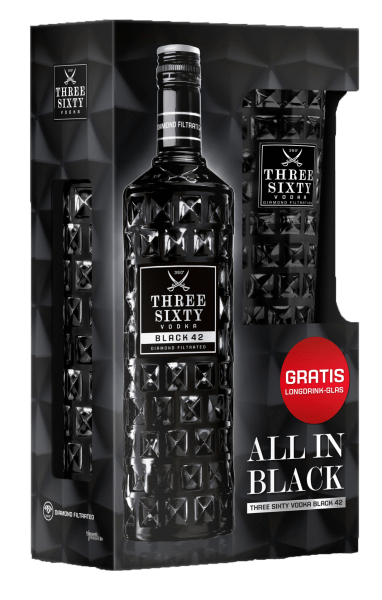 Three Sixty Vodka Black 42%vol. 0,7L + gratis Glas
