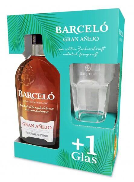 Barceló Gran Anejo 0,7L 37,5%vol. mit gratis Longdrinkglas